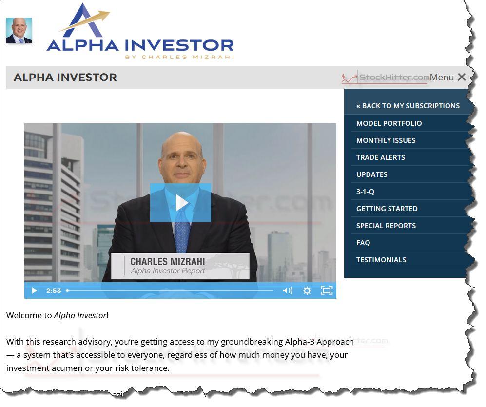 Alpha Investor Report Newsletter Homepage