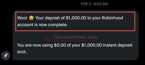 My $1,000 Robinhood Deposit